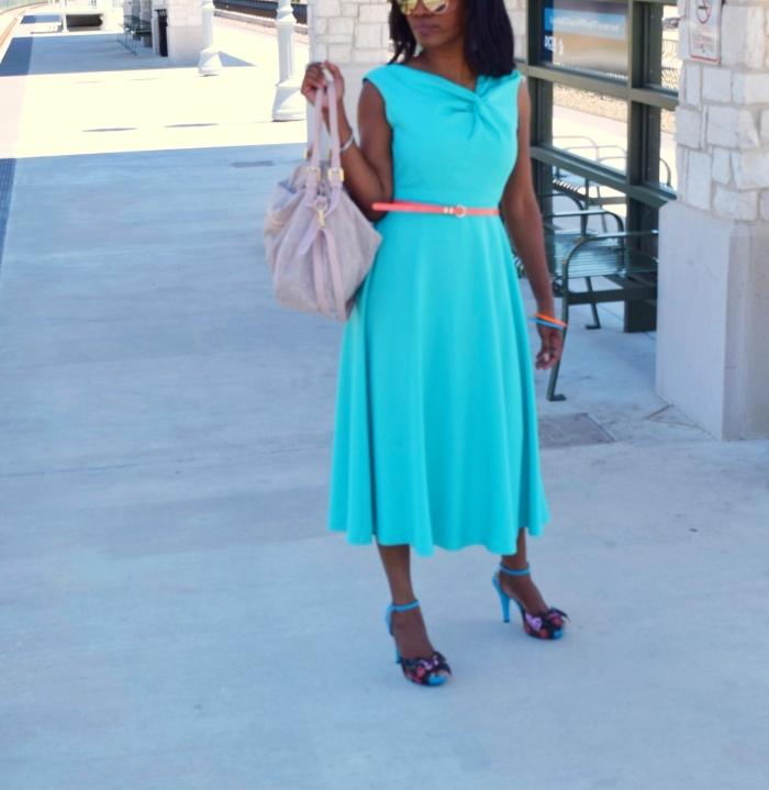 blue dress fashionably late