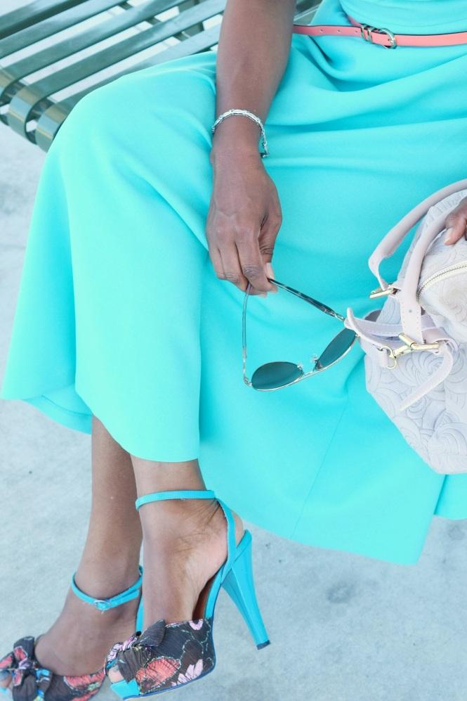 Fashionably late blue dress